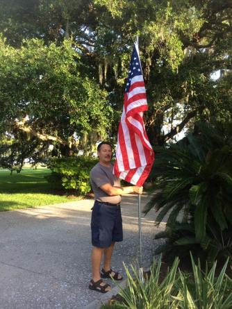 Lion Mike put a flag at the entrance to the Jekyll Island Club Resort