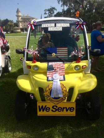 The Lions Club cart with ribbon