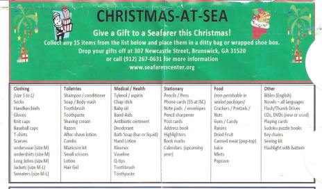 International Seafarers' Center Christmas-at-Sea donation list